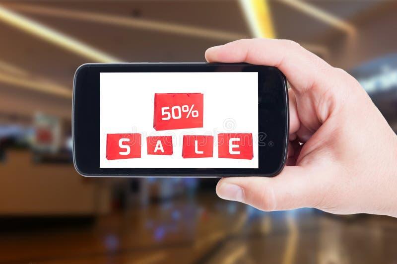 Halber Preis oder fünfzig weg vom Preisverkaufskonzept lizenzfreies stockbild