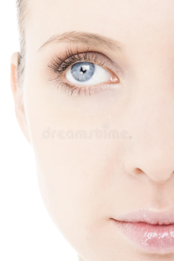Halbes Gesicht der Frau, Nahaufnahme lizenzfreies stockbild