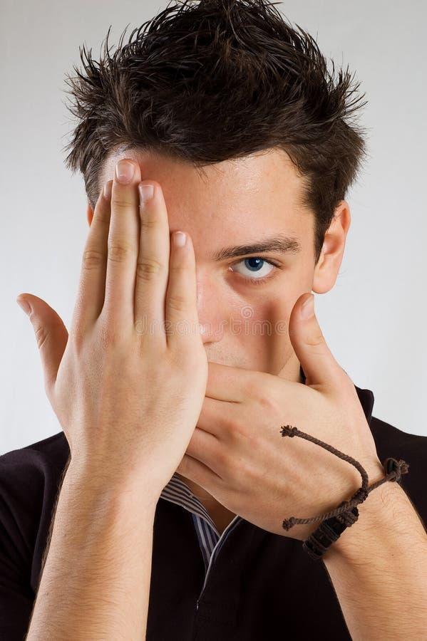 Halbes Gesicht der Jugendlichbedeckung stockfotos