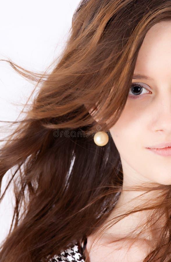 Halbes Gesicht eine junge Frau lizenzfreie stockbilder