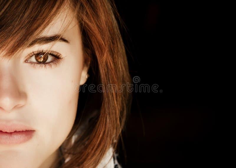Halbes Gesichtsportrait stockbild