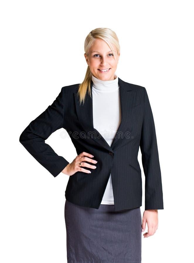 Halbes Längenportrait der jungen Geschäftsfrau. lizenzfreies stockbild
