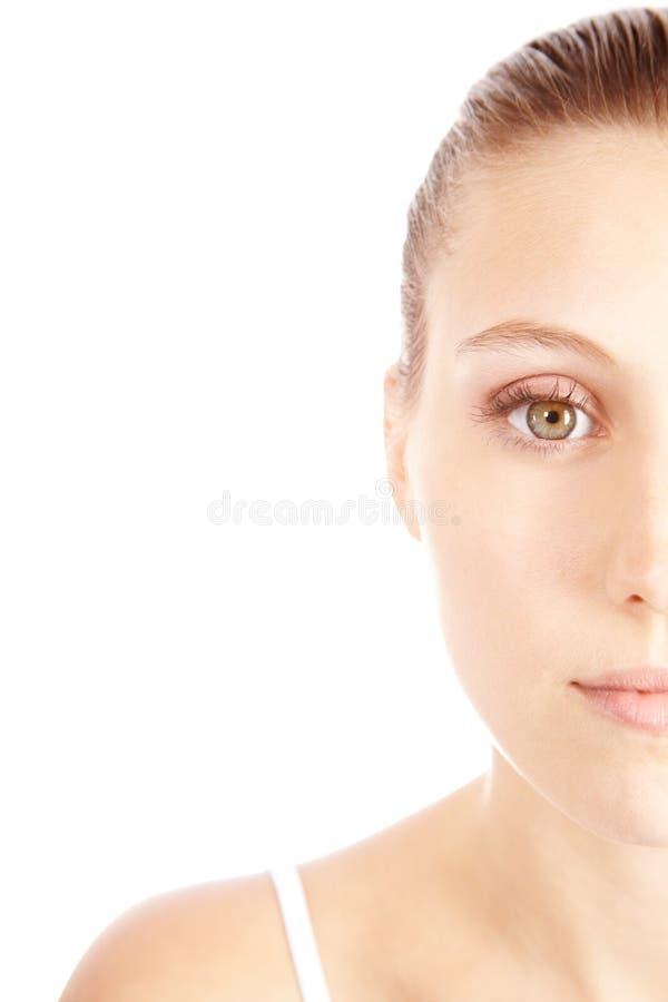 Halbes Portrait der attraktiven Frau lizenzfreies stockbild