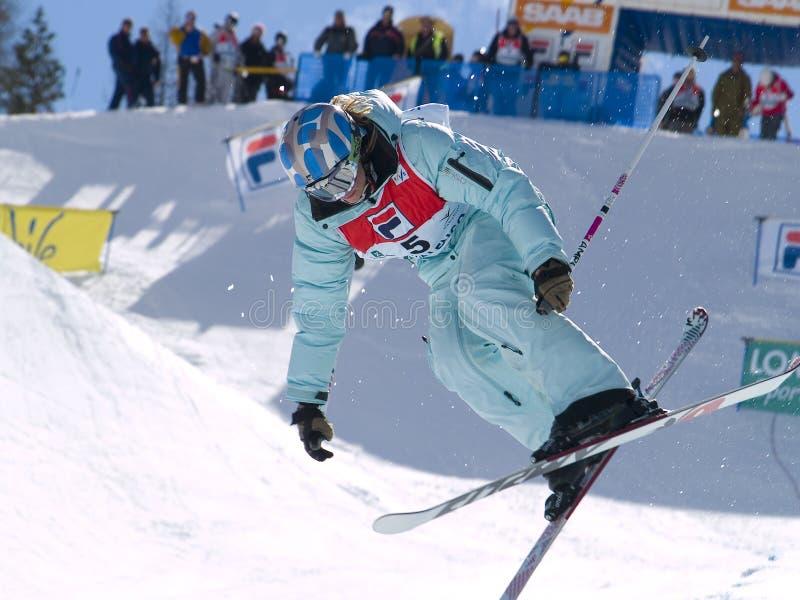 Halbes Rohrfraurennen lizenzfreies stockbild