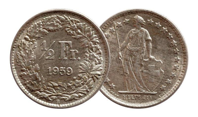 Halbes Silber des Franken 1959 Schweizer M?nze der Schweiz lokalisiert auf wei?em Hintergrund lizenzfreies stockbild