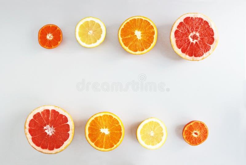 Halbierte Zitrusfrüchte in Folge auf grauem Hintergrund lizenzfreie stockfotos