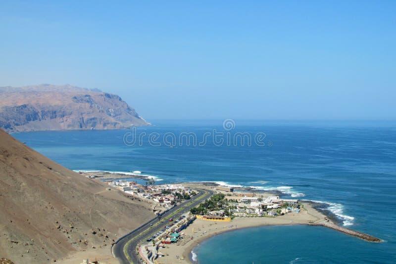 Halbinsel in Arica-Stadt, Chile stockbilder