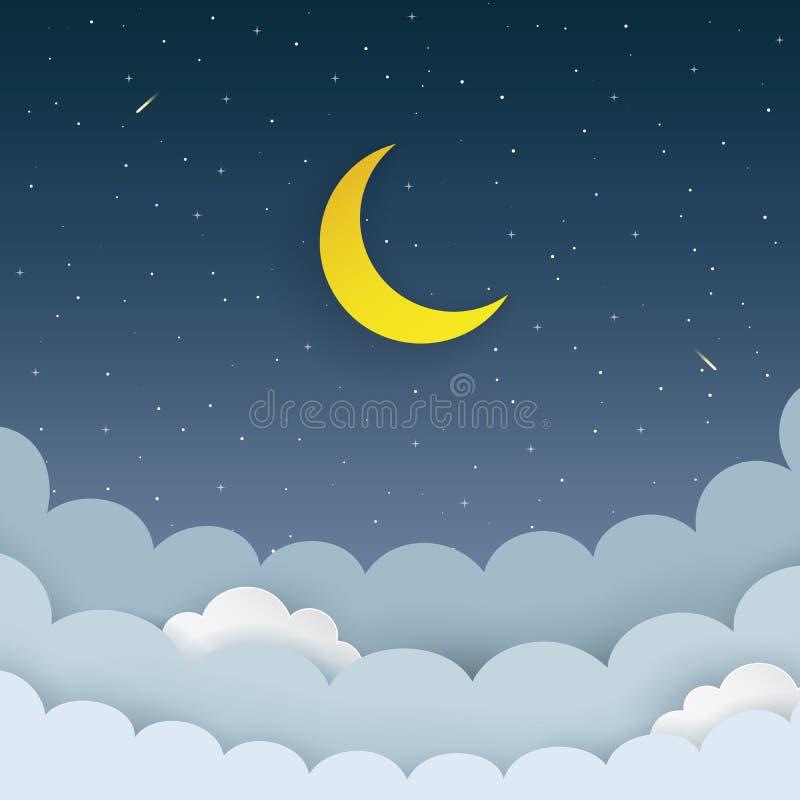 Halbmond, Sterne, Wolken, Komet auf dem dunkle Nachtsternenklaren Himmelhintergrund Galaxiehintergrund mit Mond und Sternschnuppe stock abbildung