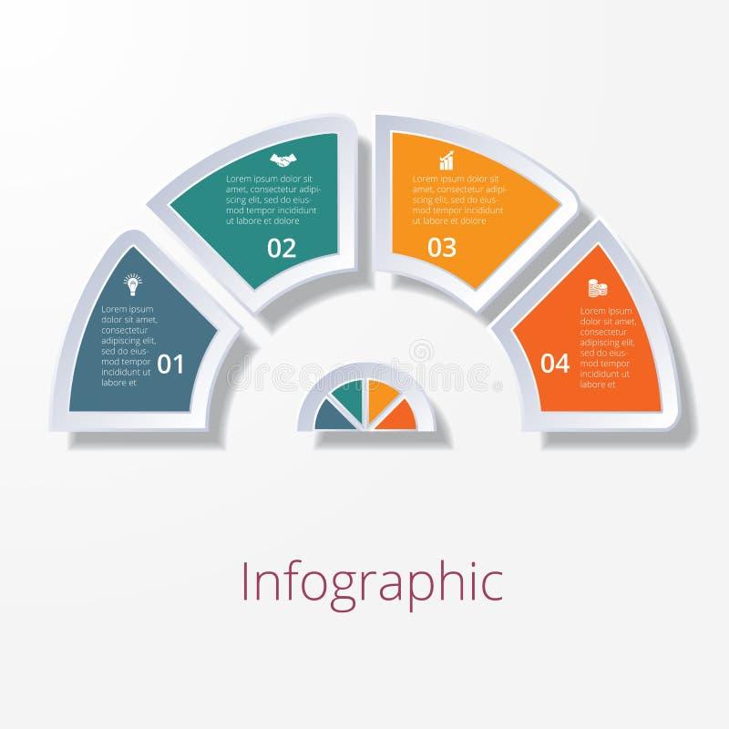 Halbrunddiagramm mit vier mehrfarbigen Elementen vektor abbildung
