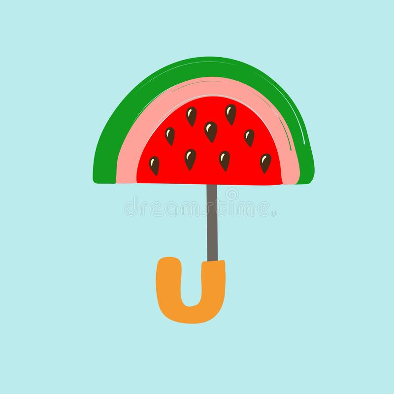 Halbrundscheibe der Wassermelone mit den Samen stilisiert als Regenschirm auf blauem Hintergrund Kreative Handgezogene Gekritzel- lizenzfreie abbildung