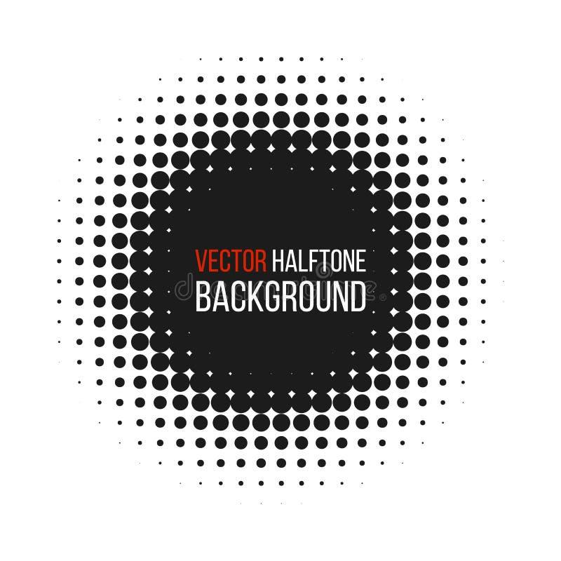 Halbton punktierte abstrakten Hintergrund des Vektors, Punktmuster in der Kreisform Schwarze komische Fahne lokalisierter weißer  stock abbildung