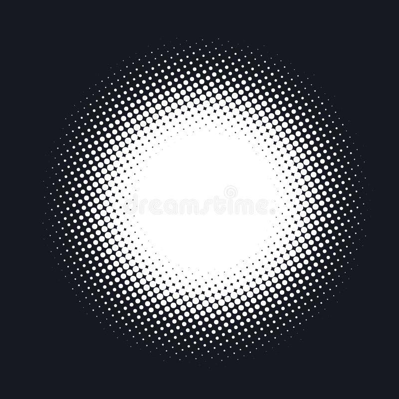 Halbton punktierte abstrakten Hintergrund des Vektors, Punktmuster in der Kreisform Wei?er komischer lokalisierter Hintergrund Mo stock abbildung