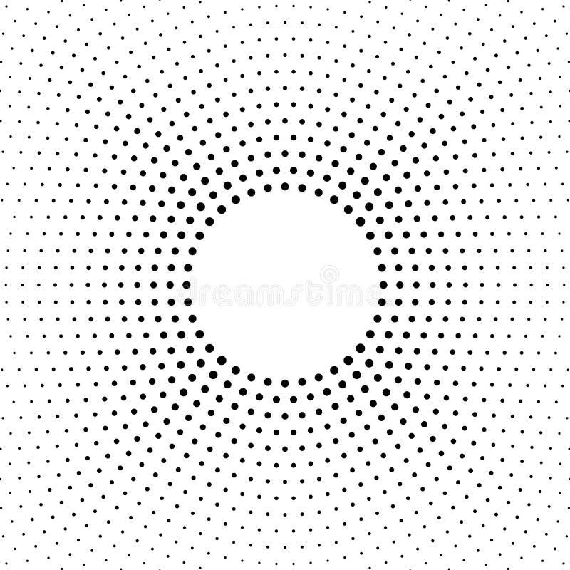 Halbton punktierter Hintergrund Halbtoneffektvektormuster Kreispunkte lokalisiert auf dem weißen Hintergrund lizenzfreie abbildung