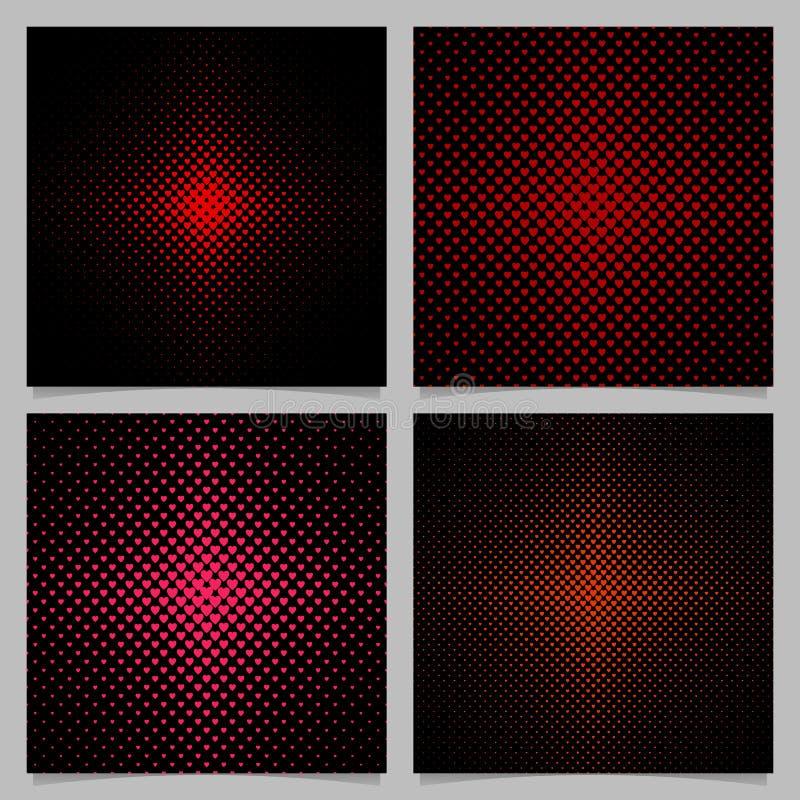 Halbtonherzmuster-Hintergrundsatz - Vektorliebes-Konzeptgrafikdesigne mit roten Herzen vektor abbildung