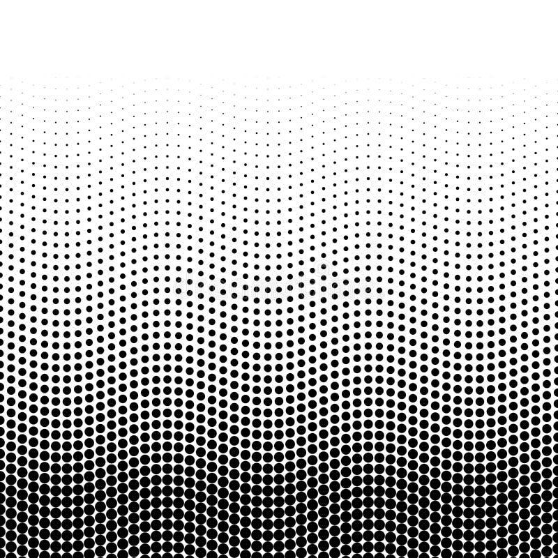 Halbtonhintergrund von Punkten in der gewellten Anordnung Schwarz-weiße Unterseitespitzensteigung Abstrakte Retrostilvektortapete lizenzfreie abbildung