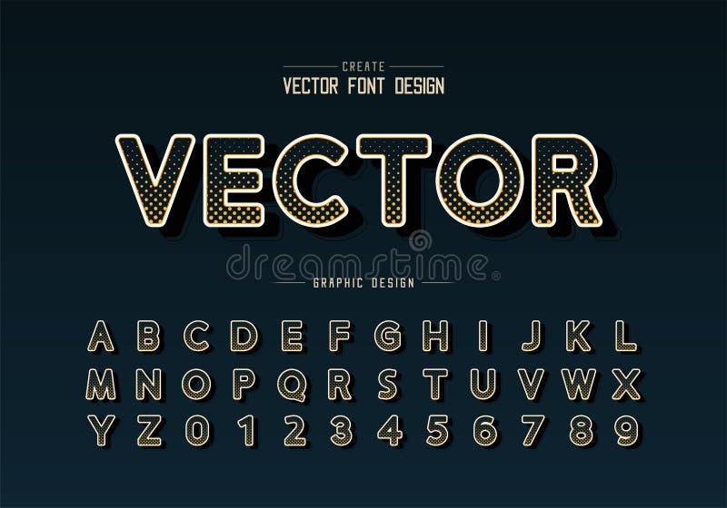 Halbtonkreisguß und Schriftbild runder Alphabetvektor, Digital-Entwurfs und Zahl, grafischer Texthintergrund stock abbildung