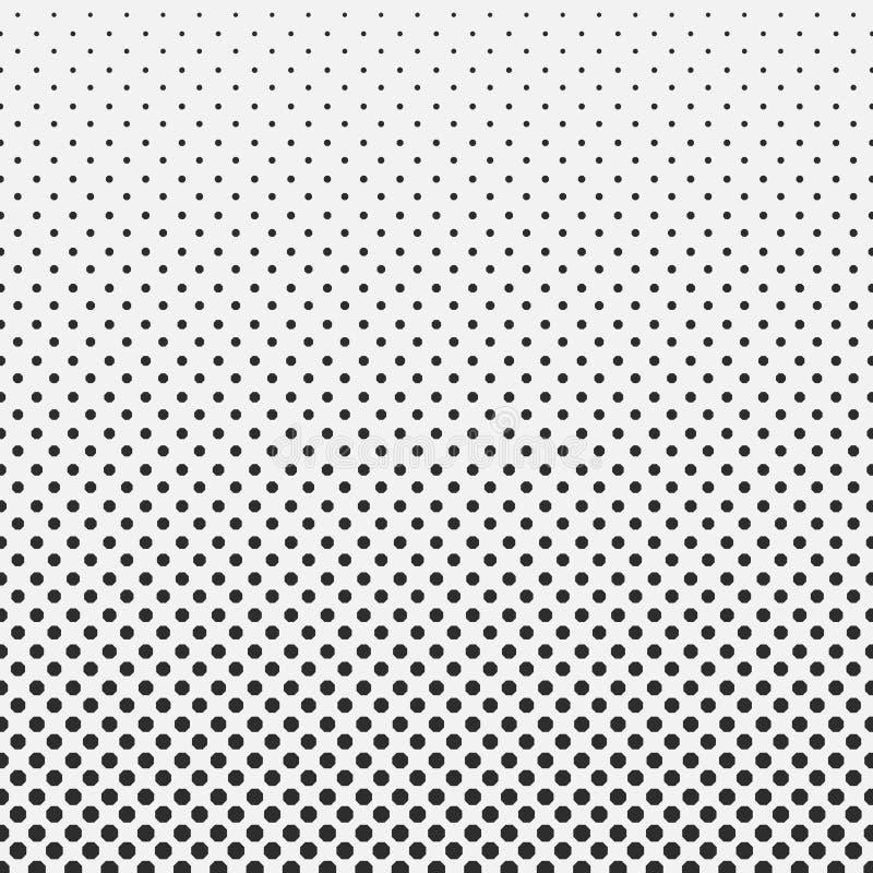 Halbtonmusterhintergrund des abstrakten Hexagons Schwarzweiss lizenzfreie abbildung