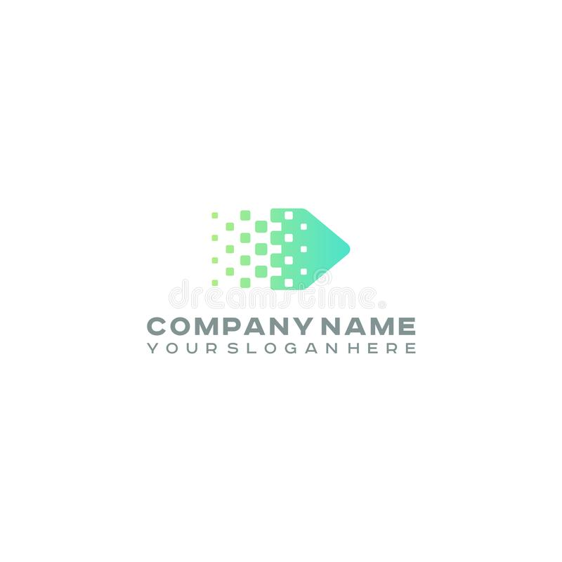 Halbtonpfeillogo, bunte Steigungspunkte, Pixeltechnologie und digitales Firmenzeichen stock abbildung