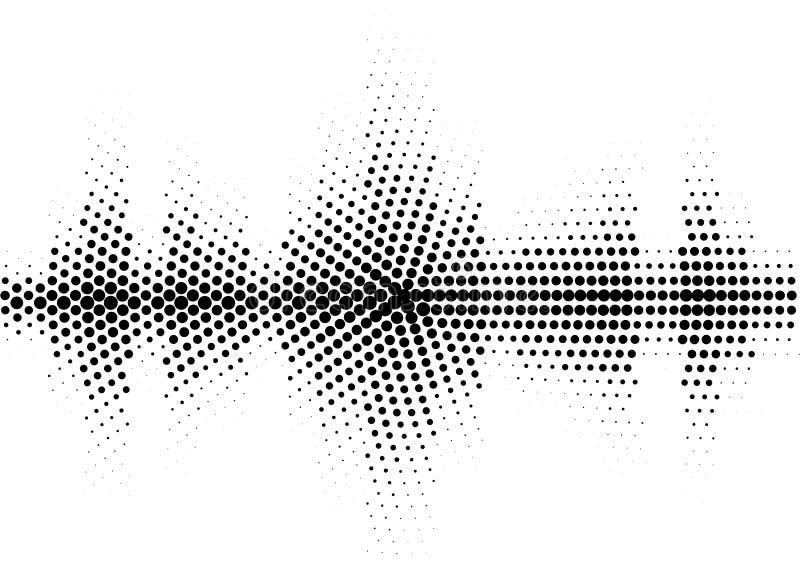 Halbtonschallwelleschwarzweiss-Muster stock abbildung