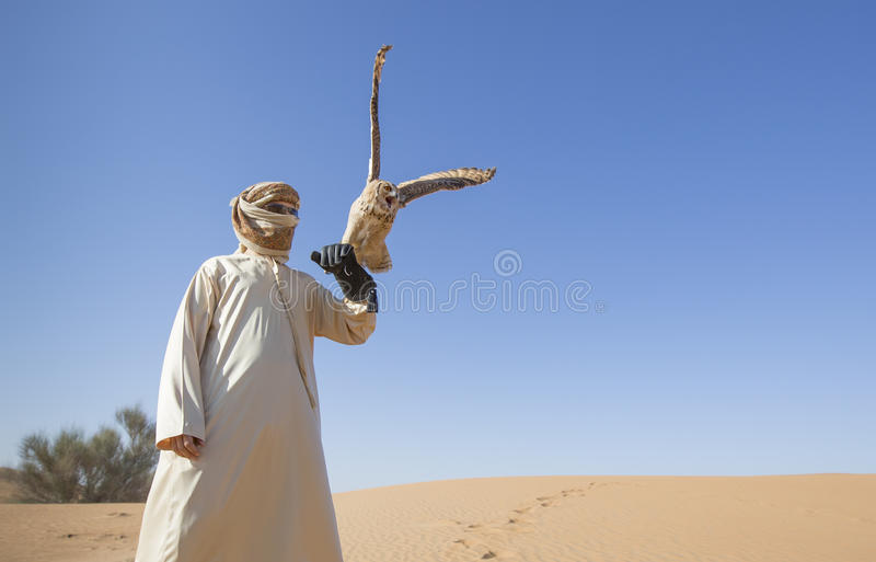Halconero con un búho rojizo del desierto en un desierto imagen de archivo libre de regalías