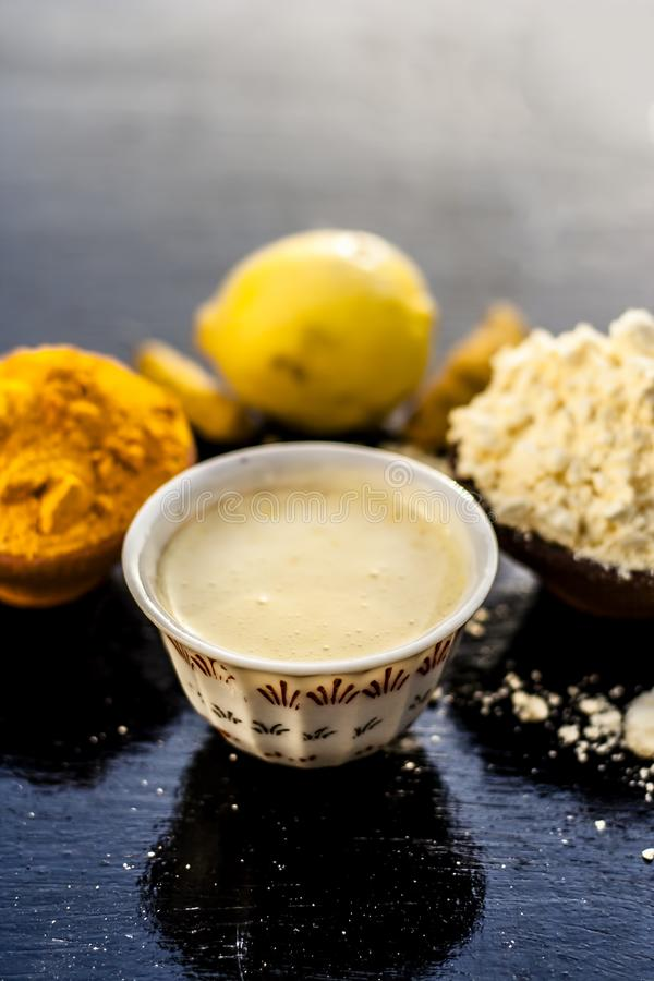 Haldi or turmeric face oack effective and derived with ayrvedic herbs. stock photography