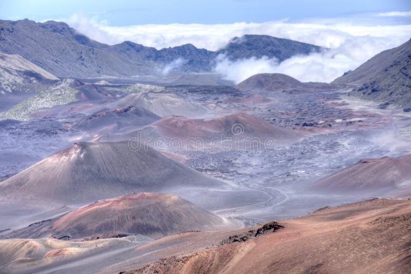 Haleakalā landschap in Maui, Hawaï stock foto's