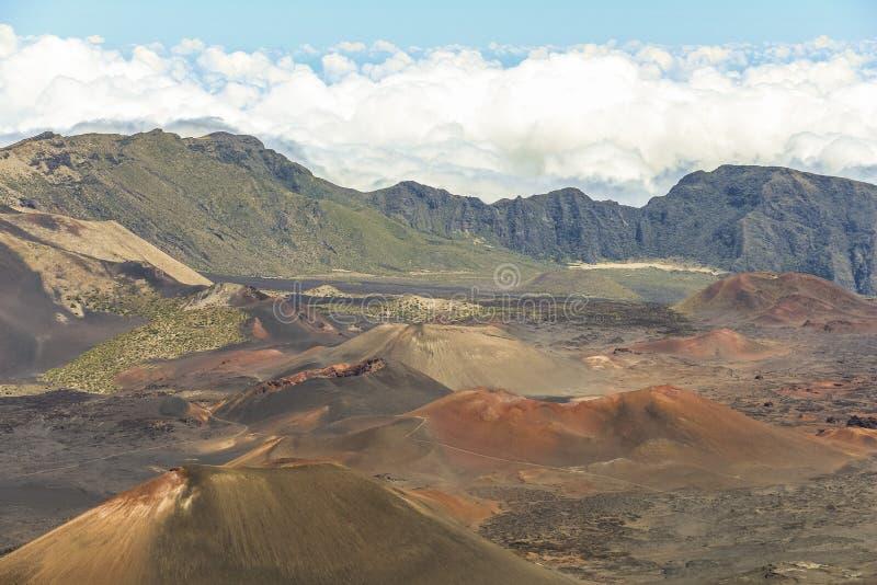 Haleakala火山火山口风景在毛伊的 免版税库存图片