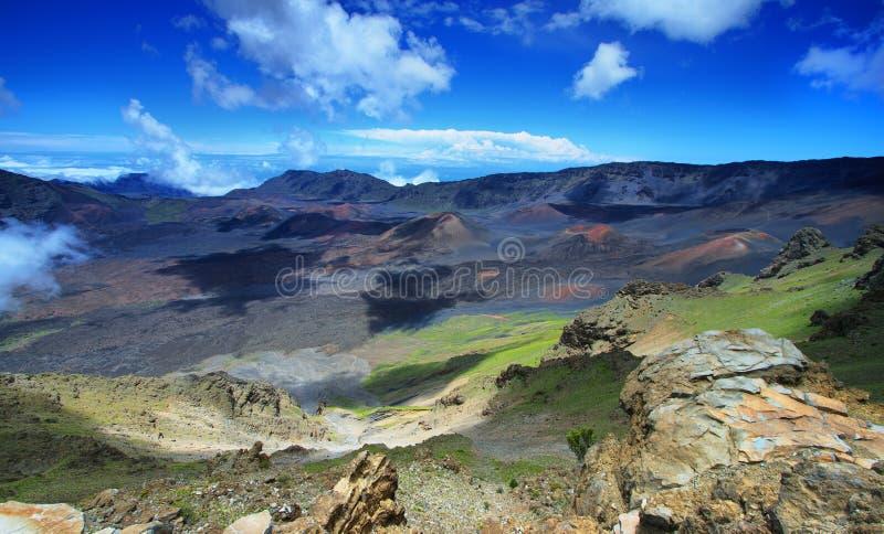 Haleakala火山的破火山口在毛伊海岛 图库摄影