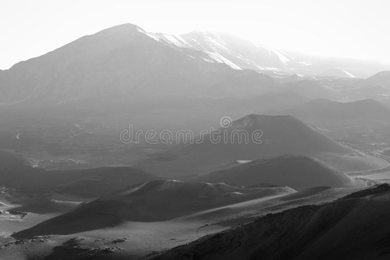 Haleakala en noir et blanc. photos stock