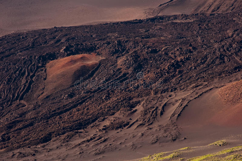 Haleakala Krater-Lava-Fluss stockfotografie