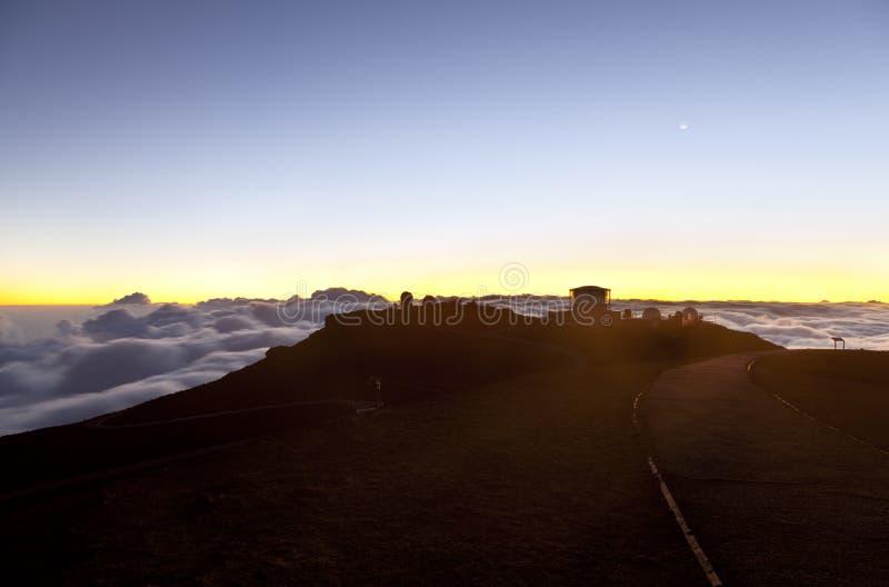 Haleakala-Sonnenuntergang, Maui stockbilder
