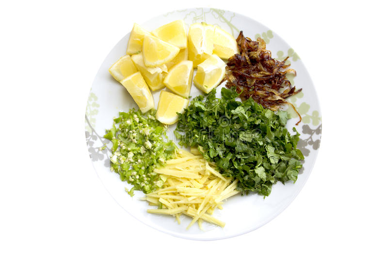 Haleem garnishing ginger cilantro lemon green chilies and brown fried onions royalty free stock image