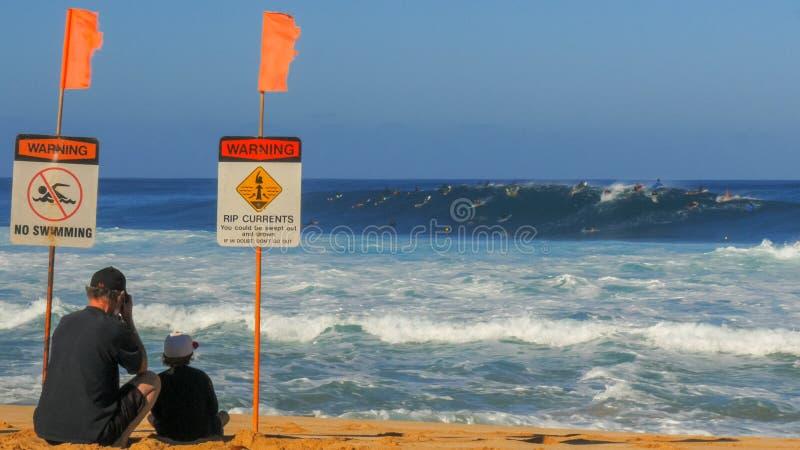 HALEIWA, VERENIGDE STATEN VAN AMERIKA 13 JANUARI 2015: wijd geschoten van het strand en de surfers in het water bij pijpleiding royalty-vrije stock fotografie