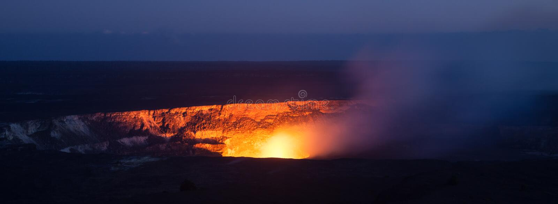 Halemaumau Crater. Active Halema'uma'u crater in the Kilauea caldera at Volcanoes National Park, Big Island of Hawaii stock photos