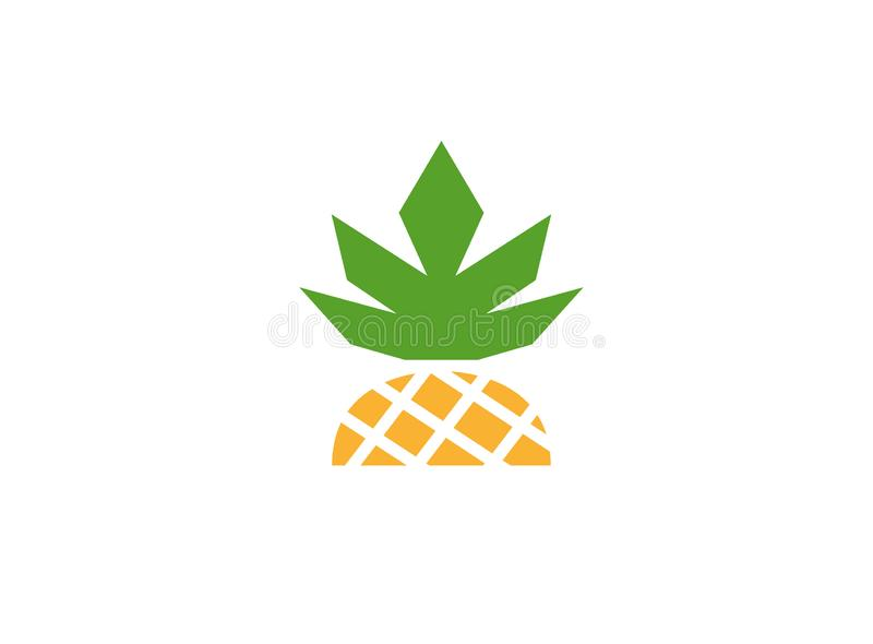 Half ananas fresh fruit for logo. Half ananas fresh fruit with leaves for logo esign illustration stock illustration