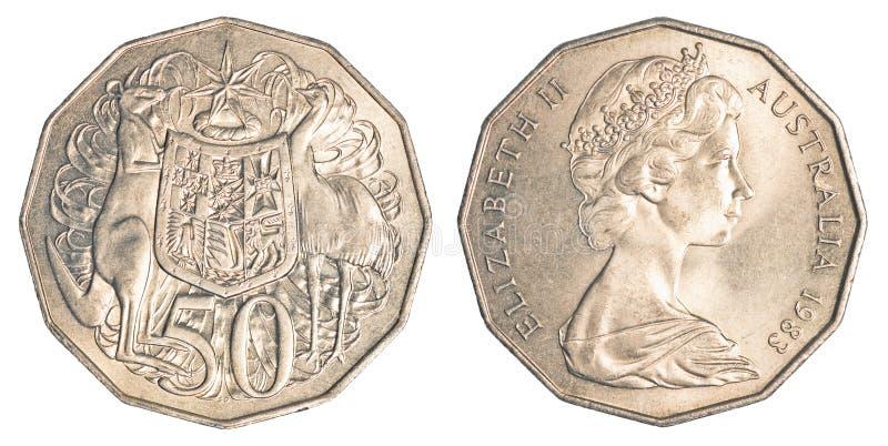 Half australian dollar coin. Isolated on white background stock photo
