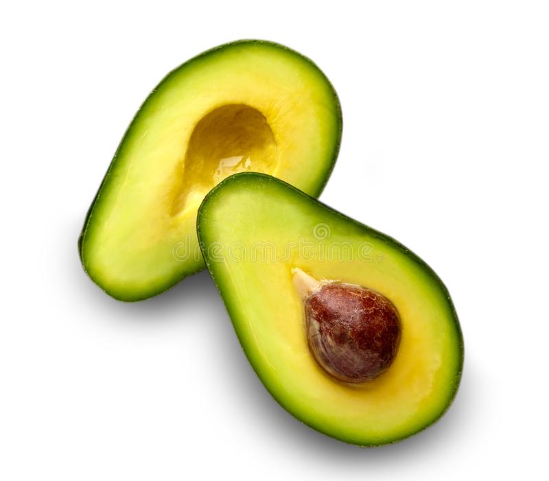 half avokado Avokado på vitbakgrund Avokado t royaltyfria foton