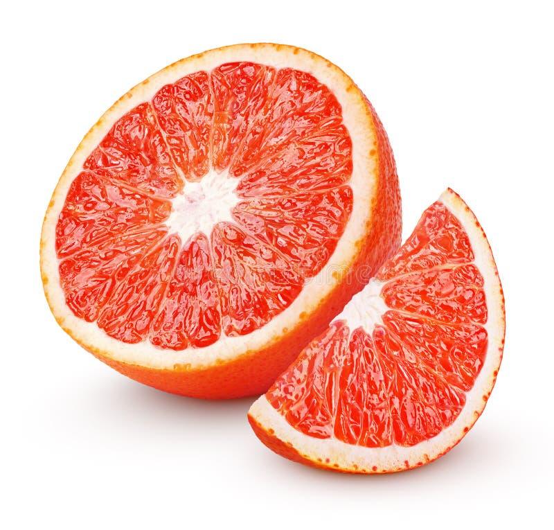 Half of blood red orange citrus fruit isolated on white stock photos