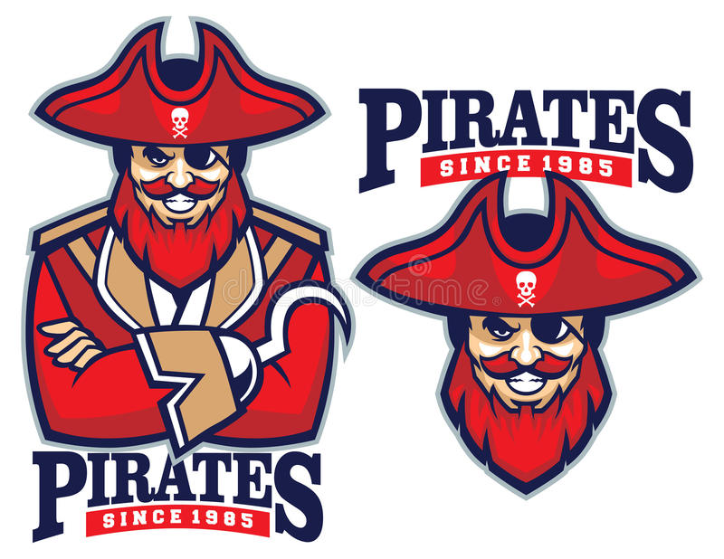 Half body pirate mascot royalty free illustration