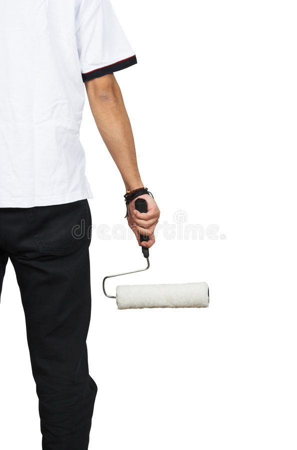 Download Half body with roller stock photo. Image of design, home - 605992