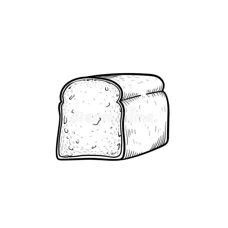 Half of bread hand drawn sketch icon. Half of bread hand drawn outline doodle icon. Toast bread for sandwich vector sketch illustration for print, web, mobile vector illustration