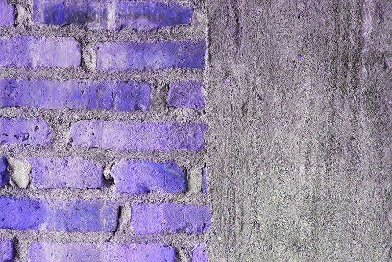 Half Brick wall and half concrete texture stock photos