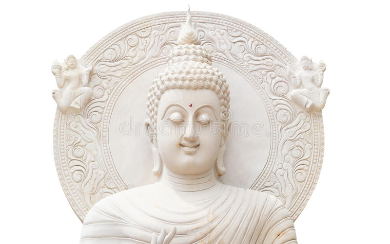 Half buddha status on white background. White buddha status isolated on white background royalty free stock photo