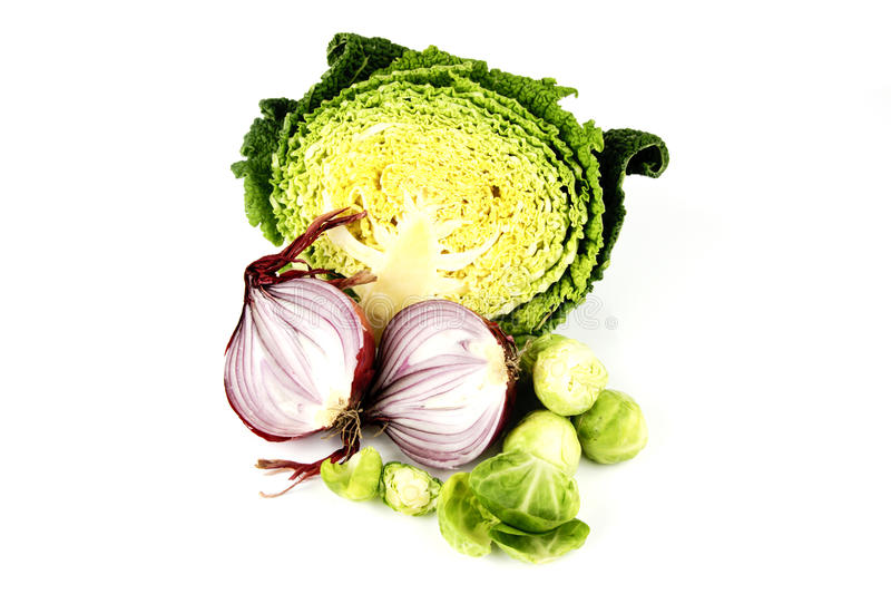 Download Half A Cabbage With Red Onion And Sprouts Stock Image - Image of fiber, market: 12616907