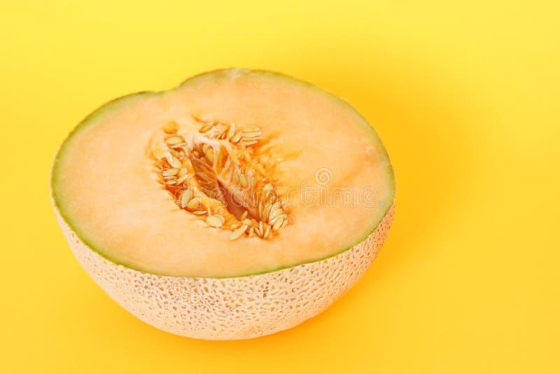 Half cantaloupe stock photo