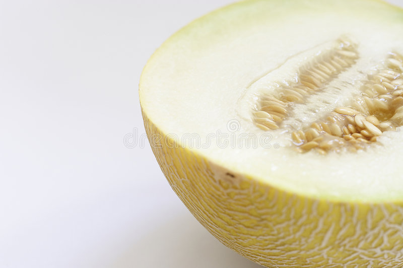 Half of a cantaloupe. On a white background stock photography