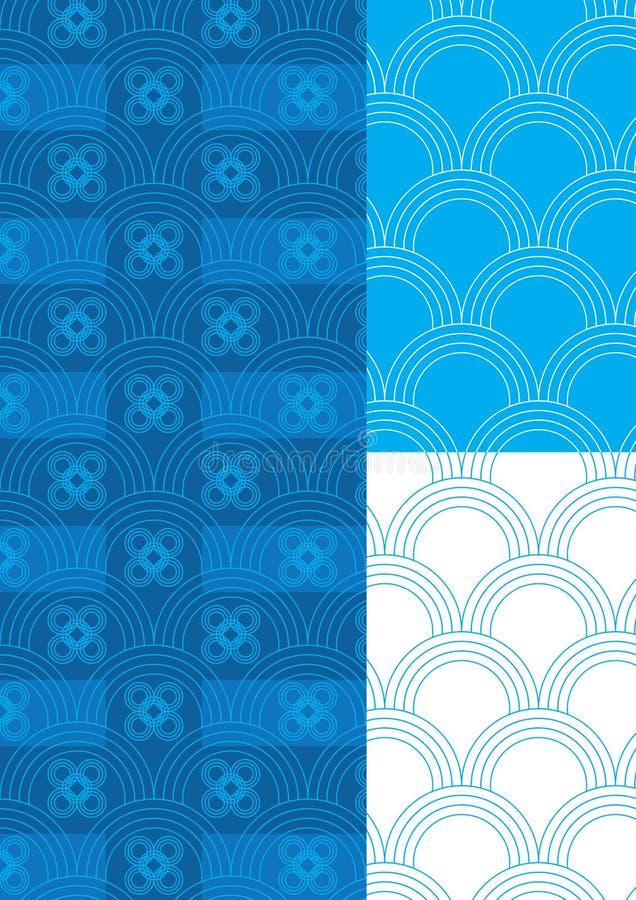 Half Circle Blue Theme Pattern Seamless_eps vector illustration