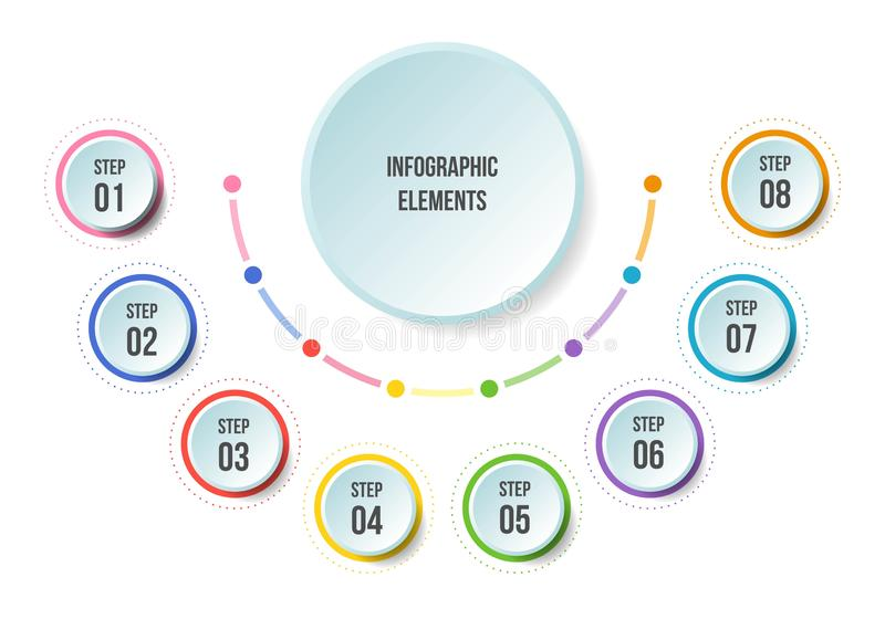 Half Circle chart, Timeline infographic templates. With 8 steps vector illustration