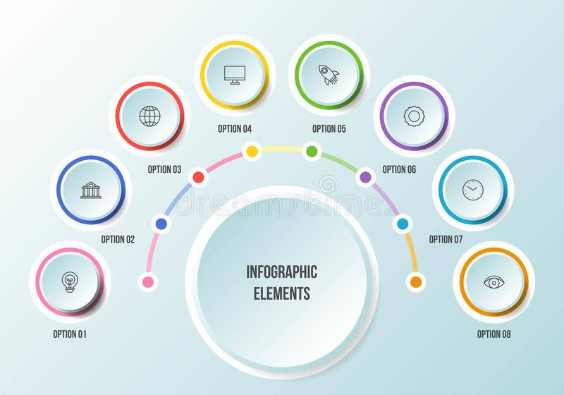 Half Circle chart, Timeline infographic templates royalty free illustration