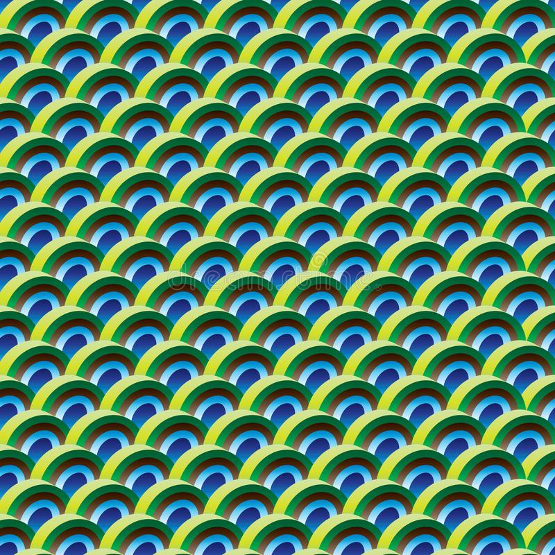 Half circle 3d peacock color symmetry seamless pattern. This illustration is design abstract half circle with 3d circle and peacock color in symmetry seamless stock illustration